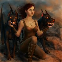 Felicity Jones with Hellhounds by xenbis