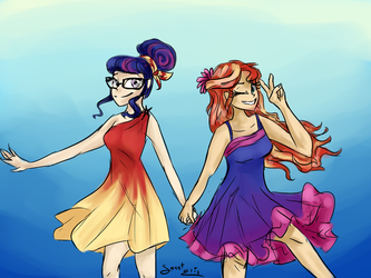 Sunset and Twi in dress by ElisDoominika