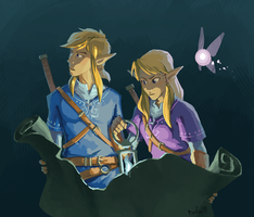 Link and Zelda by Rexfire91