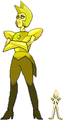Pixel Art Yellow Diamond and her Pearl ver.2 by JaegerLucciano23