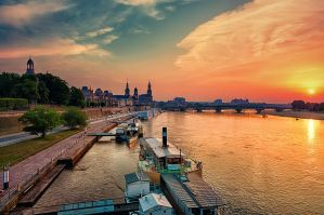 Historic center of Dresden at sunset by hessbeck-fotografix