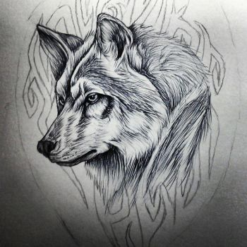 Tribal wolf tattoo by smonters