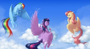 Hanging Around With Friends On The Clouds by blueSpaceling