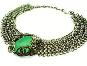 Wire Wrap Choker Necklace with Green Fluorite by hyppiechic