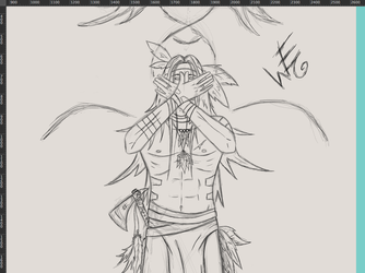 Native American Human Being.. line art and start + by WilhelmE