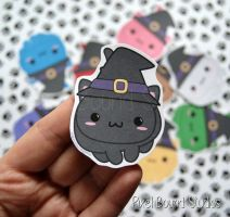 Chibi Witch Cat Stickers and Magnets by pixelboundstudios