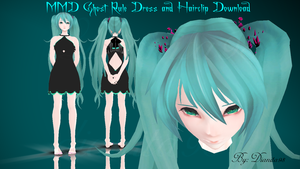MMD Request: Ghost Rule Dress and Hairclips DL by dianita98