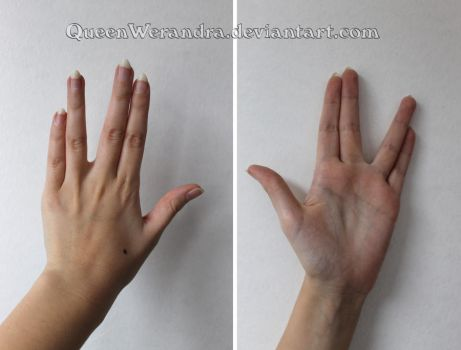 Vulcan hand sign reference stock by QueenWerandra