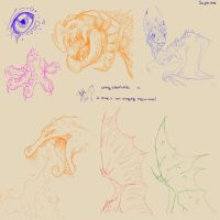 Dragon sketches by Saphizzle