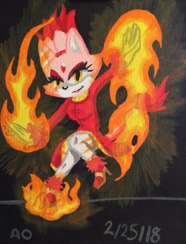 Burning Blaze Painting Request by MatakietheHedgewolf
