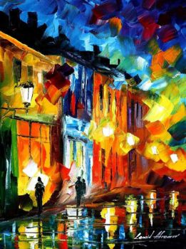 Lights Of Old Town by Leonid Afremov by Leonidafremov