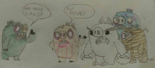 The pigs monsters from Angry Birds friends by bryan162