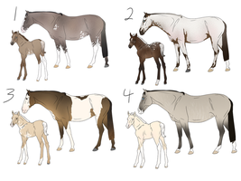 Mare + Foal pair Adopts (2/4 OPEN) by jackie-horse