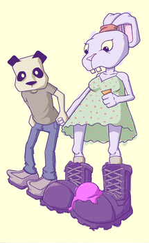 Bunny and Panda by experimettle