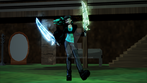 Jade Ice and Wind Swords (new sword design) by BrandonK10