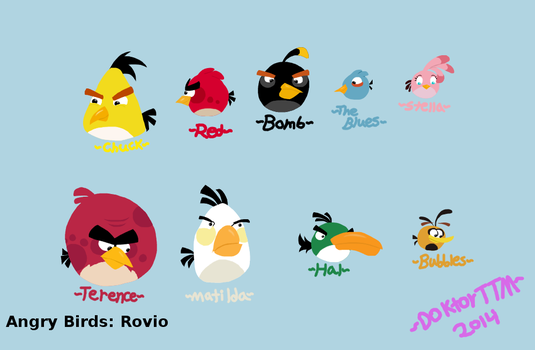 Angry bird sketch board chars colored by TatterTotMinion