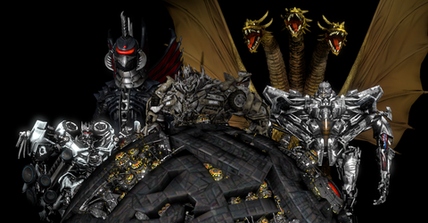 Godzilla and Transformers Invaders from Cybertron by NestieBot