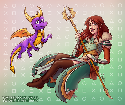 Commission: Marian and Spyro by Lukael-Art