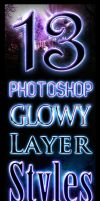 Free Glowy Photoshop Styles by Giallo86