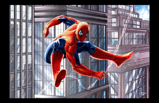 Spiderman Swinging City by ErikVonLehmann
