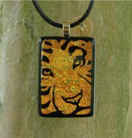 Gold Tiger Fused Glass by FusedElegance