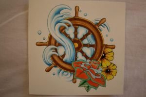 Ship Wheel Tattoo Design by itchysack