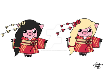 Hanami Festival 3 Characters by MadamePetiteFour