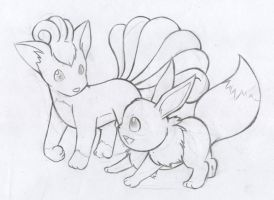 Vulpix and Eevee - New by MicahJo