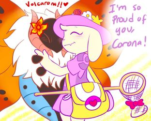 Quantumtrainer: BugCatcher!Toriel and Volcarona by perfectshadow06
