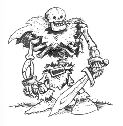 Inktober Scary Skeleton Barbarian by gsilverfish
