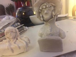 Adachi and Futaba clay works (progression) by epicbubble7