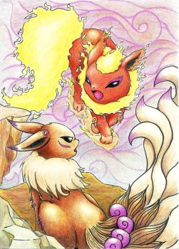 Clash of Eevee and Flareon by Leafye