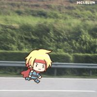 Little Guy Running Next To Your Car by mclelun