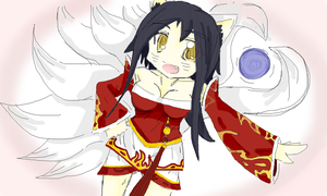 Ahri The Nine Tailed Fox Colored by PuruTheThird