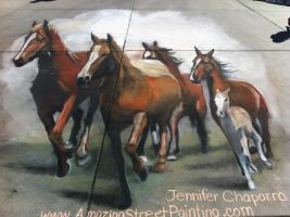 3D Horse Stampede in Wyoming by AmazingStreetPaint