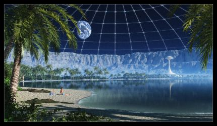 My beach in a Moon crater by ArthurBlue