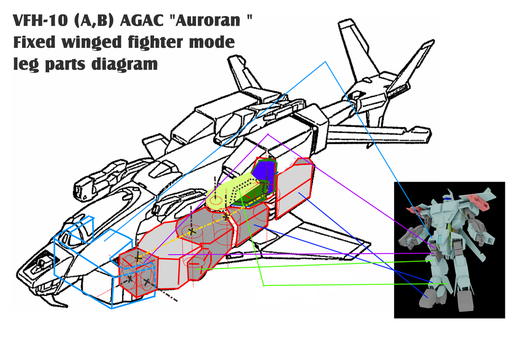 VFH-10  AGAC fixed wing mode, leg parts diagram by yui1107