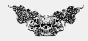 Skull and Roses Tattoo by XenatheConqueror