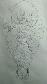 Skull pile WIP by micaeltattoo