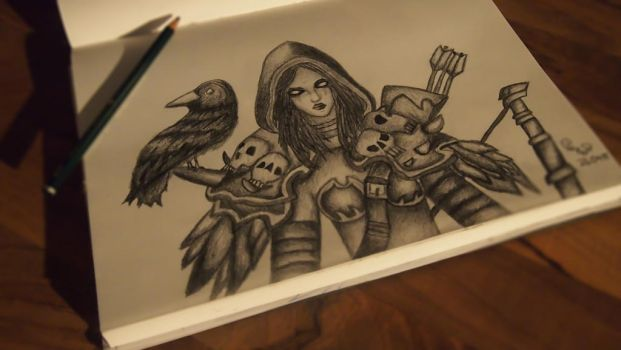 Sylvanas Windrunner with a raven by JuicyLung