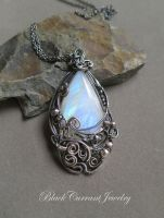Rainbow Moonstone with Dark Sterling Silver by blackcurrantjewelry