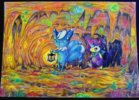Meowstic and Purrloin in a Cave of Gemstones