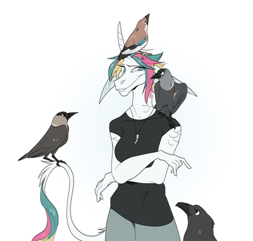 Me and my birbs by PinLe