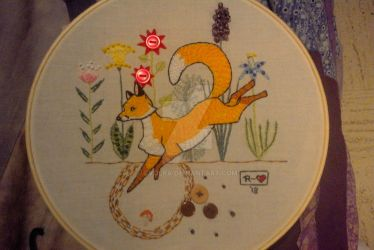 Embroidered fox II by evolra