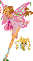 Flora in enchantix with Chatta by mina1015