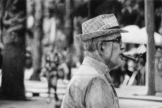 Old man wearing hat, sitting and smoking by AlexFleming