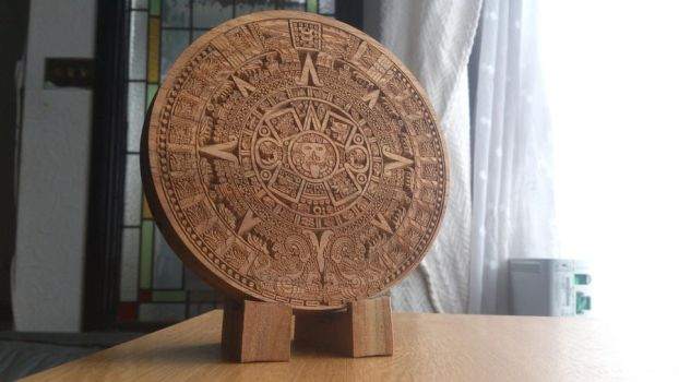 Aztec Sun Stone made from walnut by CraigRobbo
