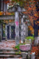 Rhomboidal columns and autumn leaves by oanaunciuleanu