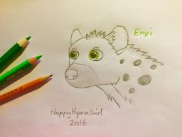 Enyi Sketch Headshot - Traditional Art by HappyHyenaGirl