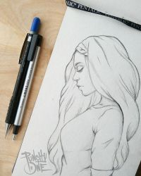 In Thought - Illustration Drawing by punchyone